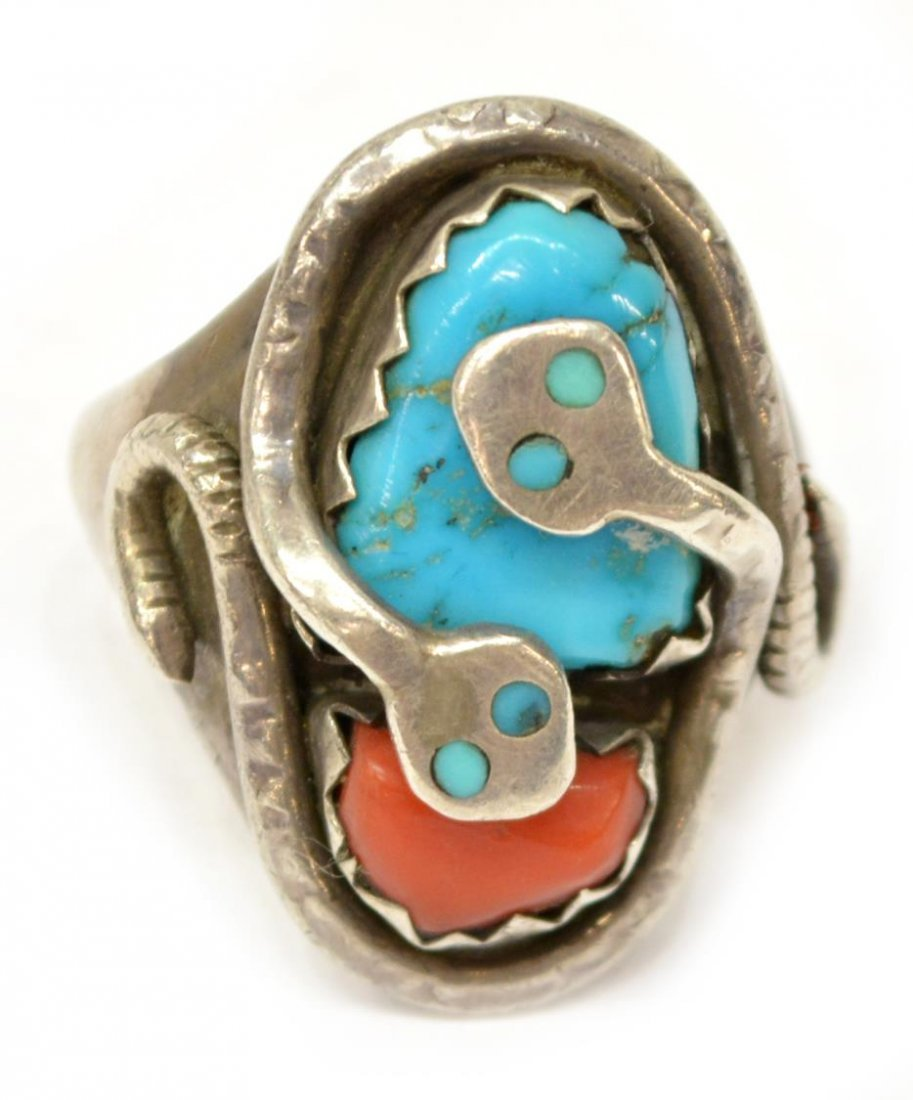 NATIVE AMERICAN SIGNED EFFIE C STERLING SNAKE RING