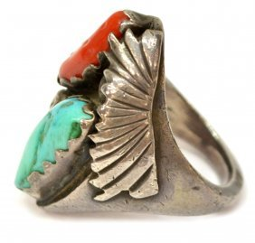 NATIVE AMERICAN STERLING TURQUOISE & CORAL RING