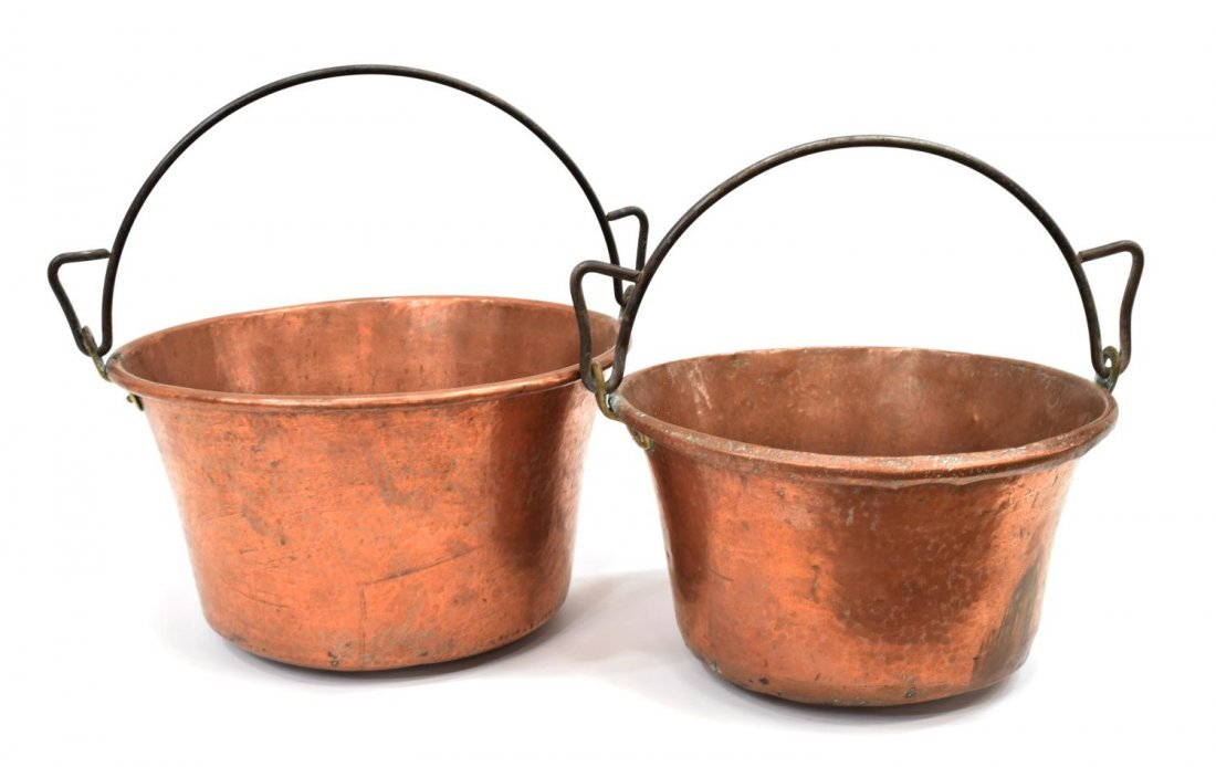 (2) ITALIAN HAMMERED IRON HANDLED COPPER POTS