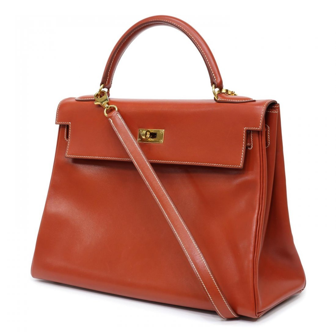 HERMES 'KELLY RETOURNE 32' ORANGE LEATHER HANDBAG