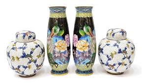 (4) VINTAGE CLOISONNE ENAMEL CABINET VASES, FLOWER