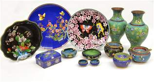 (11)VINTAGE CHINESE CLOISSONNE VASES & TABLE ITEMS