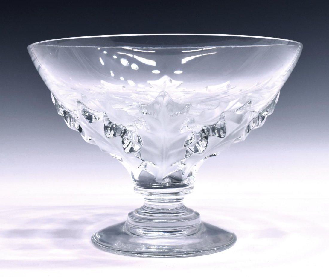 LARGE LALIQUE OLONNE HOLLY LEAF COMPOTE / BOWL
