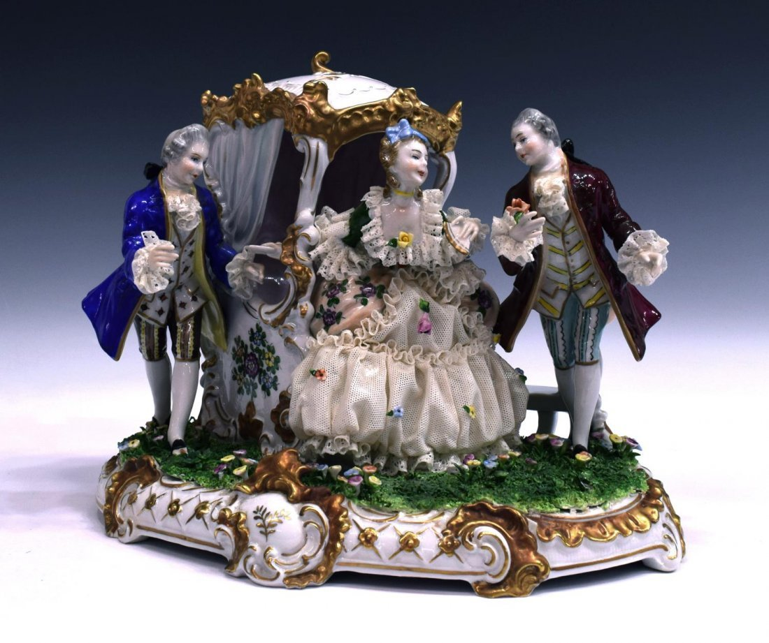 GERMAN DRESDEN LACE PORCELAIN FIGURAL GROUP