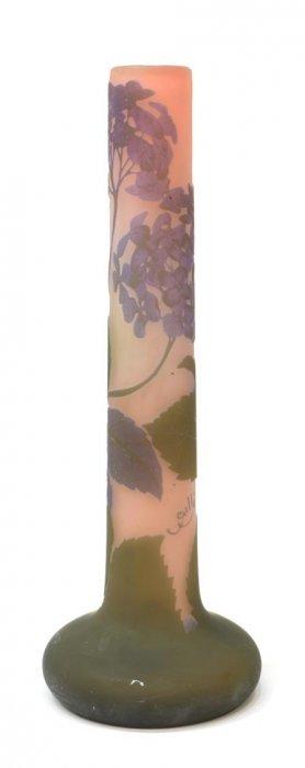 LARGE GALLE CAMEO ART GLASS FLOWER VASE