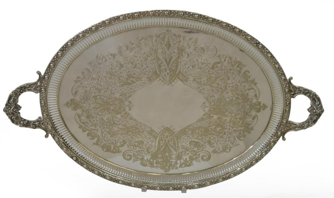 VICTORIAN SHEFFIELD SILVERPLATE TRAY BY JOHN ROUND