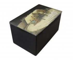19TH C. RUSSIAN PAINTED PAPER MACHE LACQUER CADDY
