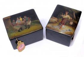 (2) 19TH C RUSSIAN PAPER MACHE LACQUER TABLE BOXES