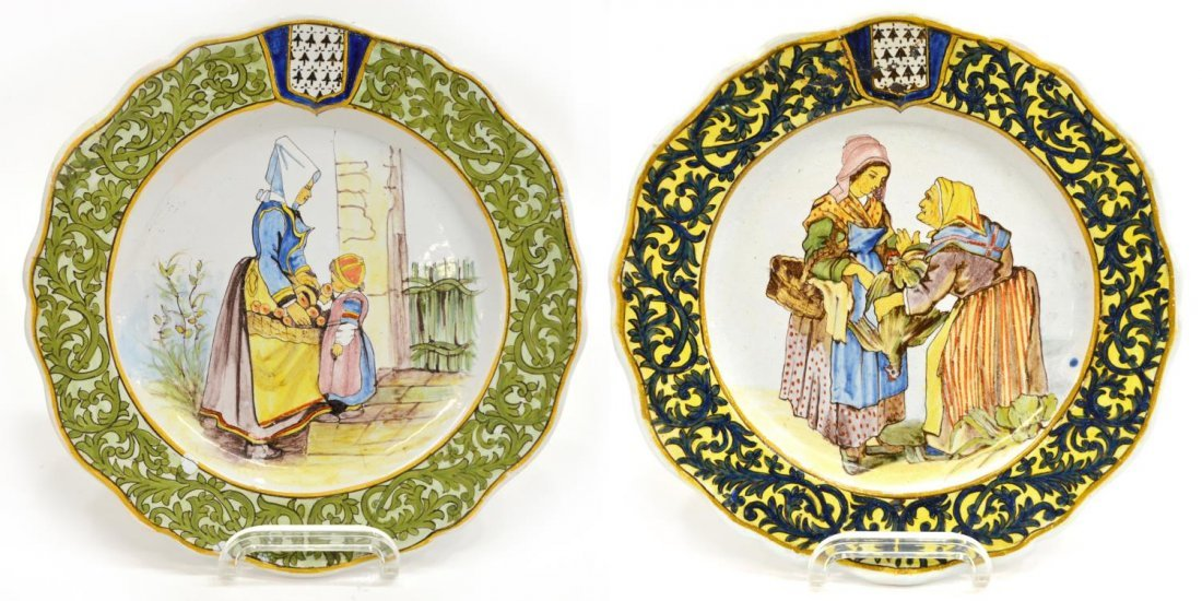 (2) FRENCH PORQUIER-BEAU QUIMPER FAIENCE PLATES