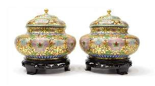 2 VINTAGE CHINESE GILDED CLOISONNE COVERED JARS