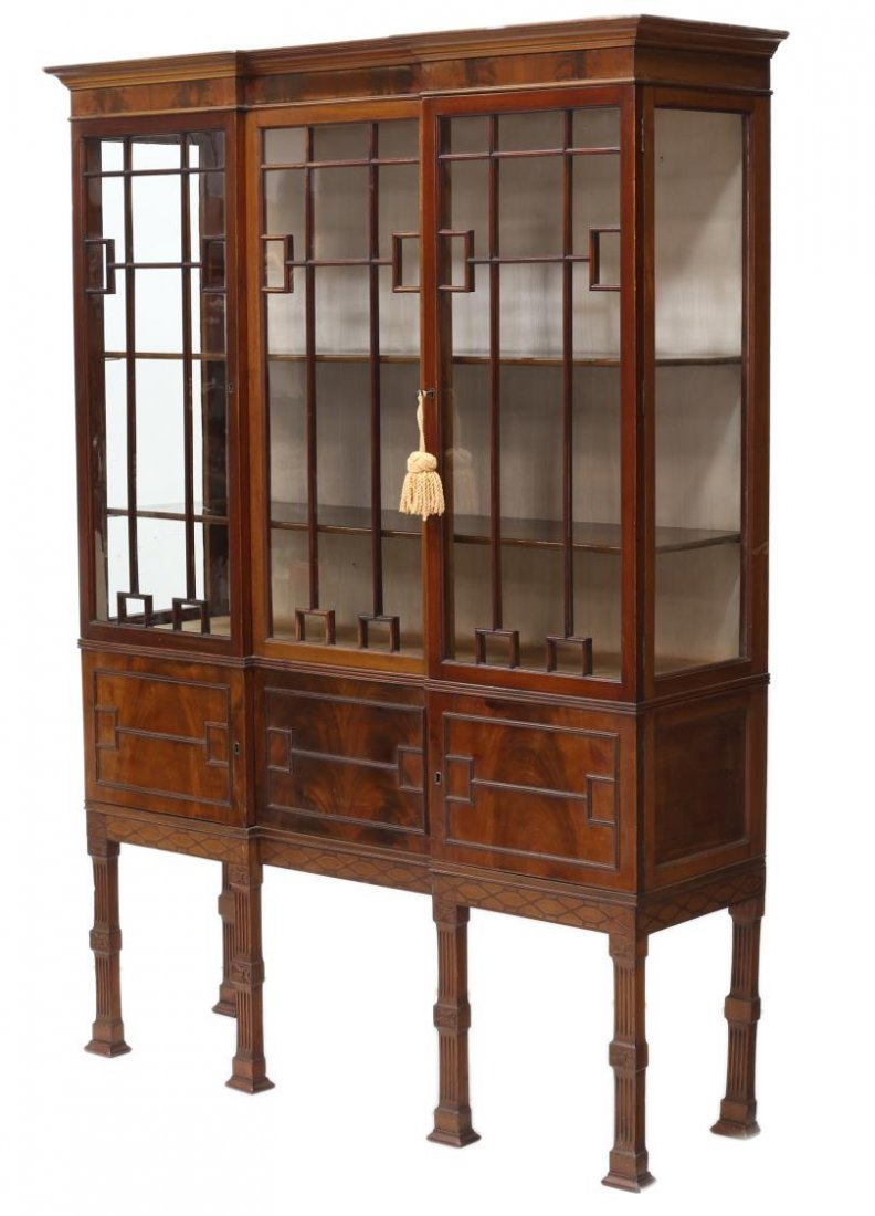 EDWARDIAN CHIPPENDALE STYLE MAHOGANY CHINA CABINET