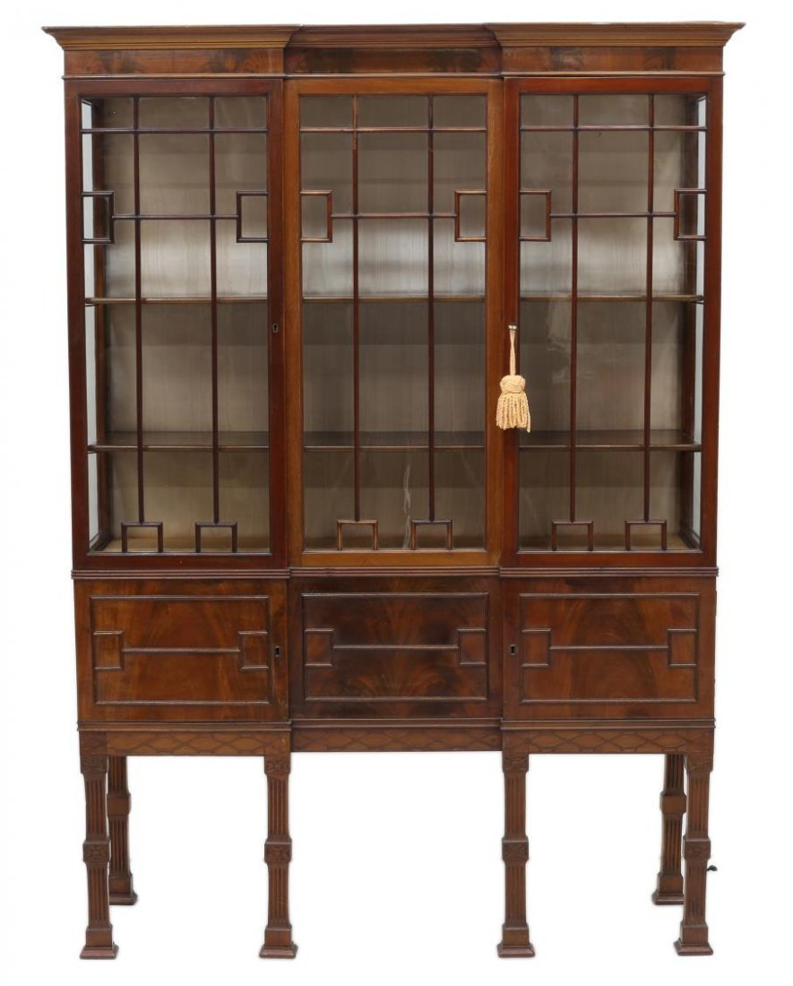 EDWARDIAN CHIPPENDALE STYLE MAHOGANY CHINA CABINET - 2
