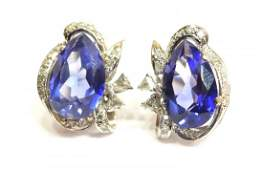 LADIES 14KT TANZANITE  DIAMOND ESTATE EARRINGS