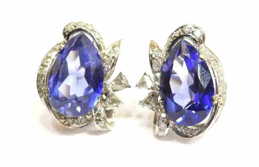 LADIES 14KT TANZANITE & DIAMOND ESTATE EARRINGS