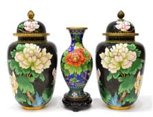 (3) VINTAGE CHINESE CLOISONNE COVERED URNS
