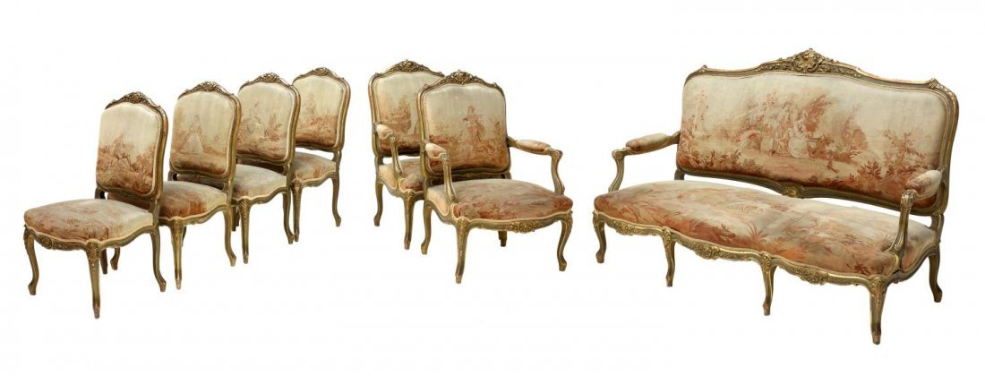 (7) LOUIS XV AUBUSSON PARCEL GILT SALON SUITE