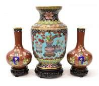 (3) VINTAGE CHINESE CLOISONNE ENAMEL CABINET VASES