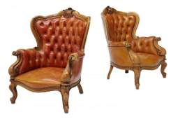 (2) ITALIAN BAROQUE STYLE LEATHER WINGBACK CHAIRS