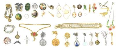 HUGE LOT OF GOLD STERLING  COSTUME JEWELRY