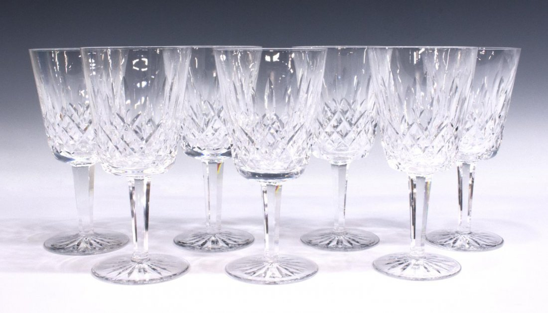 (7) WATERFORD CRYSTAL 'LISMORE' WATER GOBLETS