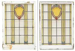 (2) ENGLISH VICTORIAN FRAMED STAINED GLASS WINDOWS
