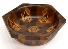 2 INLAID MIXED WOOD BOWL  BRASS EGG CARL AUBOCK