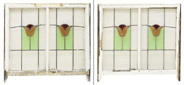 (3) ENGLISH VICTORIAN FRAMED STAINED GLASS WINDOWS
