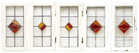 (5) ENGLISH VICTORIAN FRAMED STAINED GLASS WINDOWS