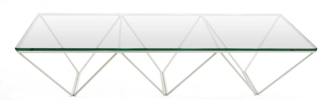 ITALIAN DESIGN 'ALANDA' GLASS & IRON COFFEE TABLE