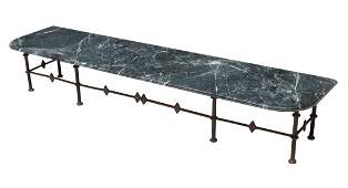 GREEN VARIEGATED MARBLE & IRON OCCASIONAL TABLE