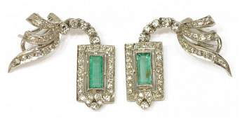 2 LADIES ESTATE 14KT DIAMOND  EMERALD EARRINGS