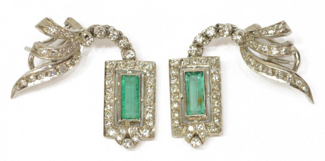 (2) LADIES ESTATE 14KT DIAMOND & EMERALD EARRINGS