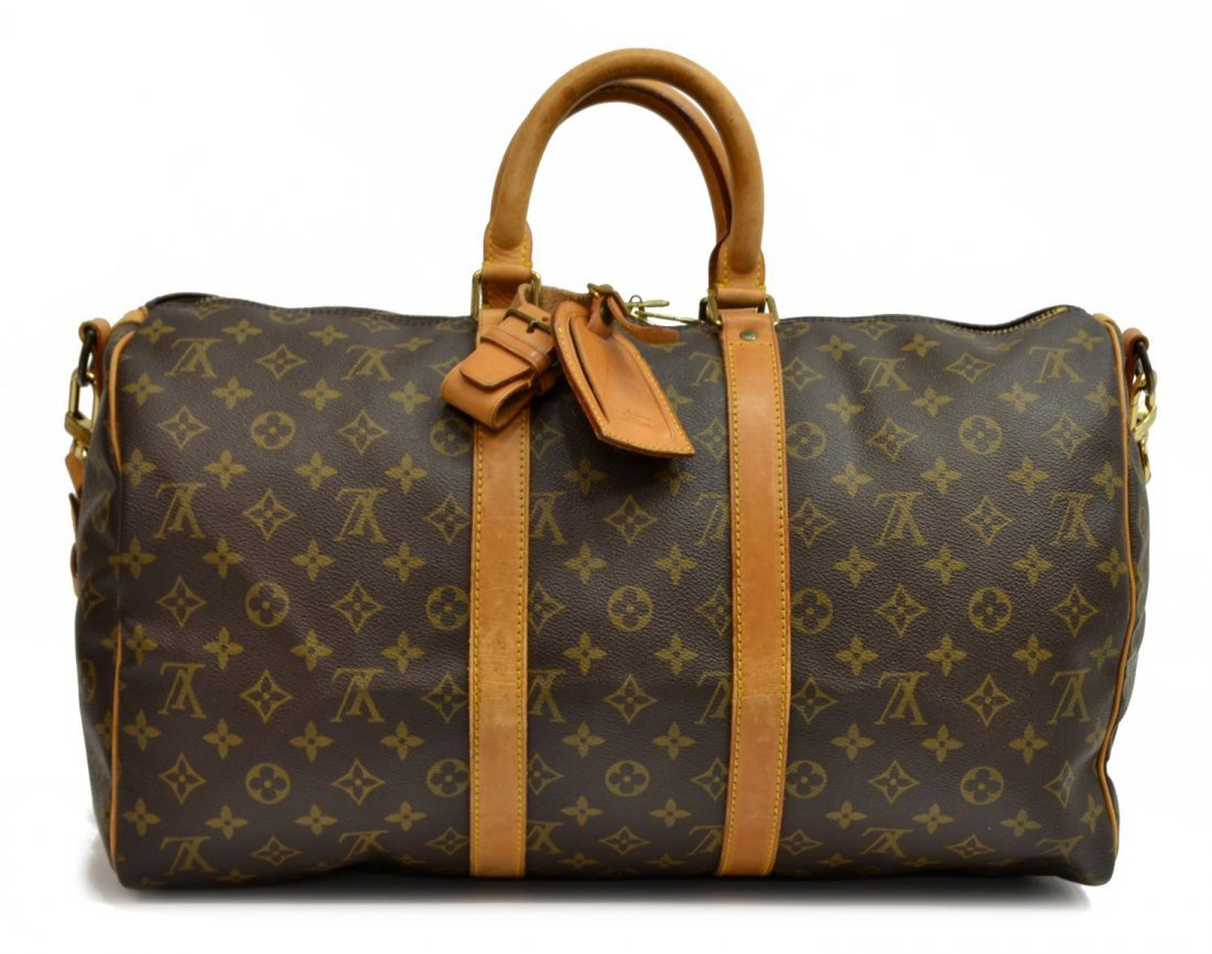 LOUIS VUITTON 'KEEPALL 45' MONOGRAM DUFFLE W/STRAP - 2
