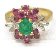 LADIES ESTATE 14K GOLD EMERALD RUBY DIAMOND RING