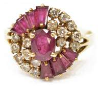 LADIES ESTATE 14KT RUBY  DIAMOND COCKTAIL RING