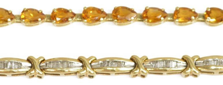 (2) LADIES ESTATE YELLOW GOLD GEMSTONE BRACELETS