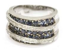 LADIES 14K LEVIAN DIAMOND  SAPPHIRE COCKTAIL RING