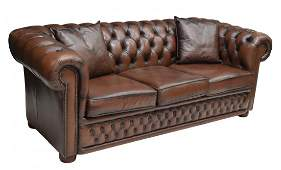 3 ENGLISH CHESTERFIELD LEATHER SOFA WPILLOWS