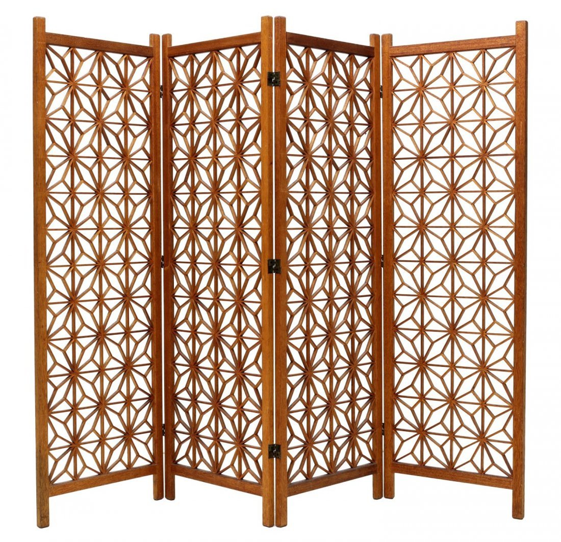 FOUR PANEL TEAKWOOD FOLDING ROOM DIVIDER SCREEN