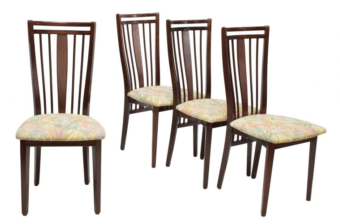 4) DANISH MODERN DESIGN SPINDLE BACK DINING CHAIRS