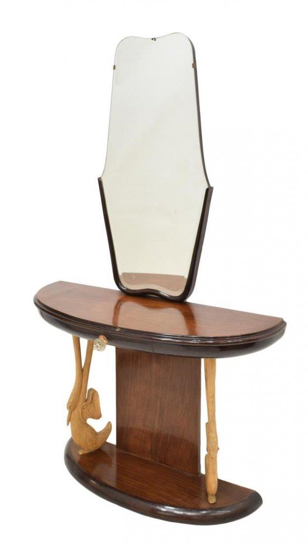 ITALIAN ART DECO DEMI-LUNE MIRRORED CONSOLE TABLE