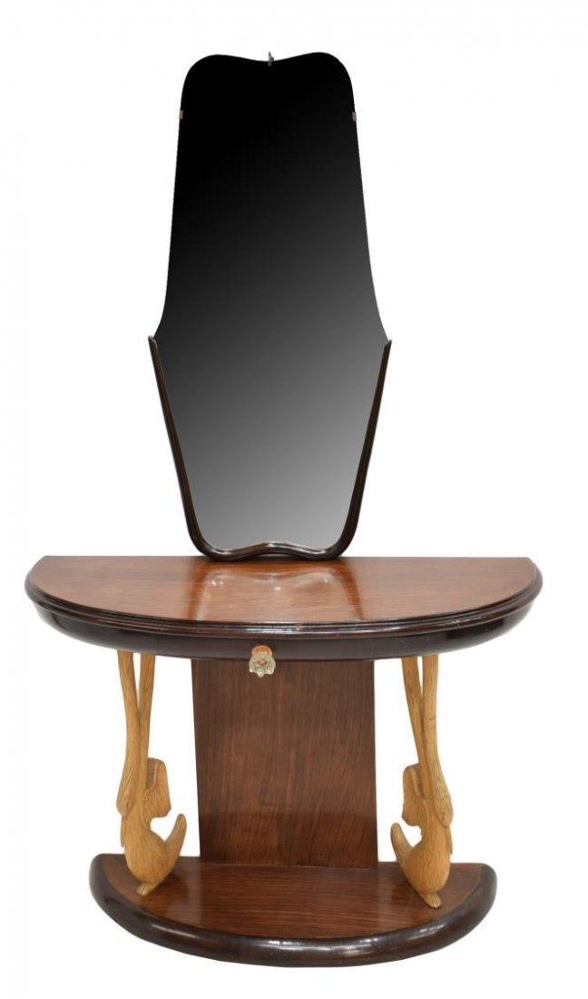 ITALIAN ART DECO DEMI-LUNE MIRRORED CONSOLE TABLE - 2