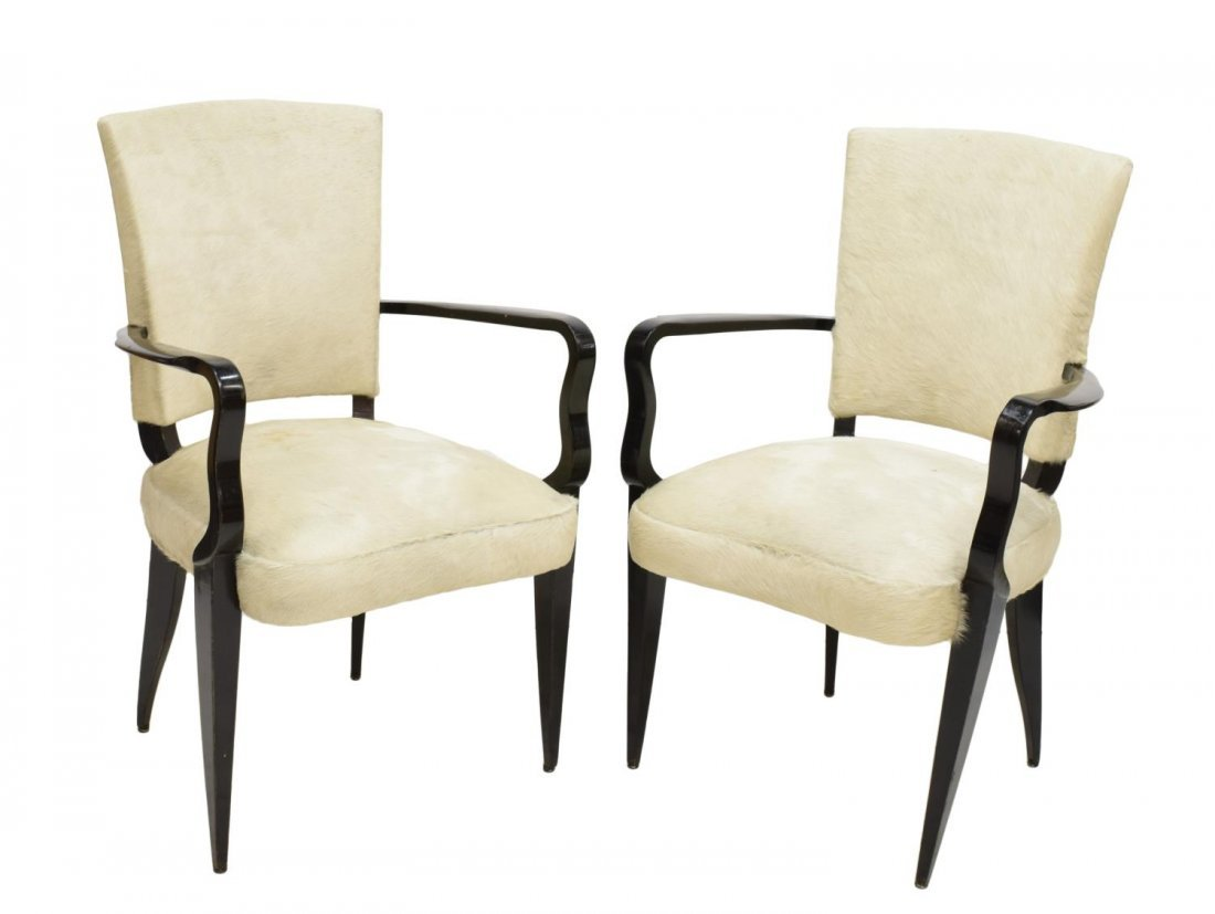 (2) FRENCH MID-CENTURY MODERN COWHIDE CHAIRS