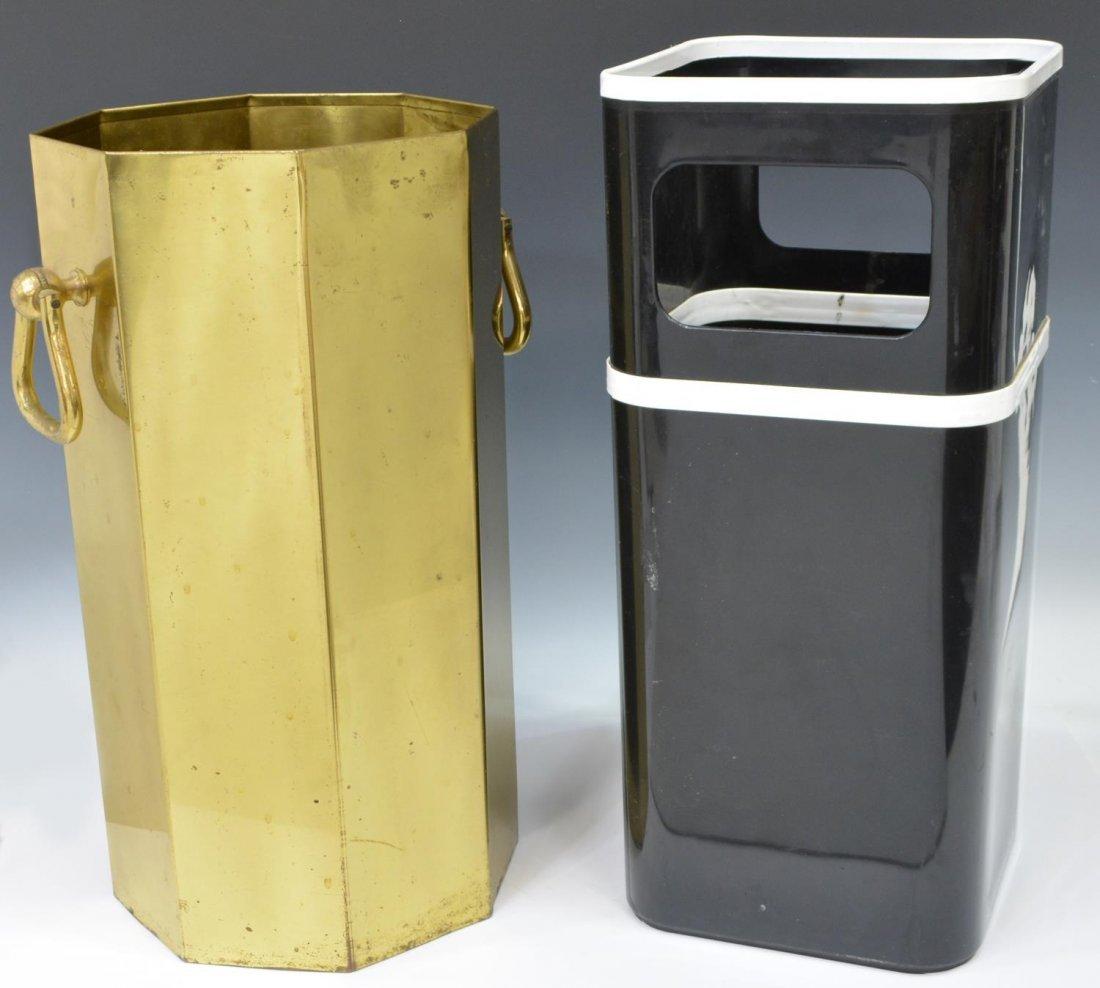 (2) MODERN PLASTIC & GILT METAL UMBRELLA STANDS