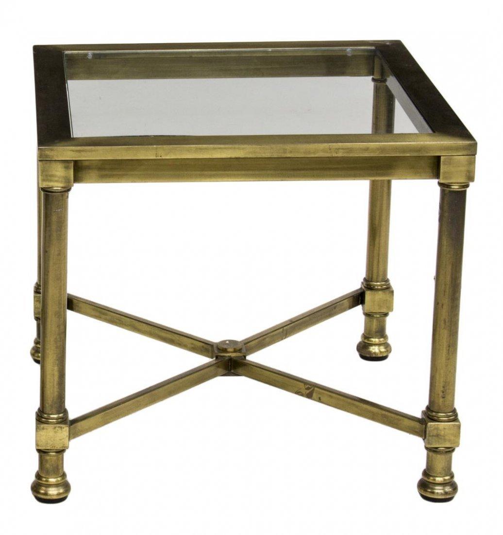 FRENCH GLASS & BRASS SIDE TABLE, MAISON JANSEN - 2