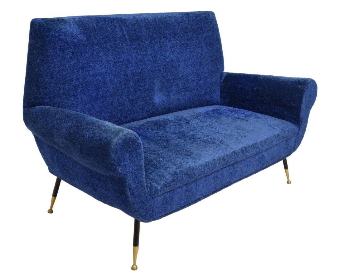 ITALIAN MID-CENTURY MODERN BLUE TWO SEAT SOFA 1950