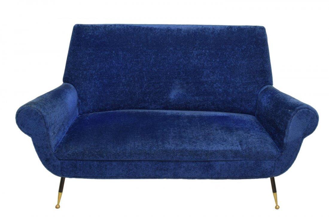 ITALIAN MID-CENTURY MODERN BLUE TWO SEAT SOFA 1950 - 2