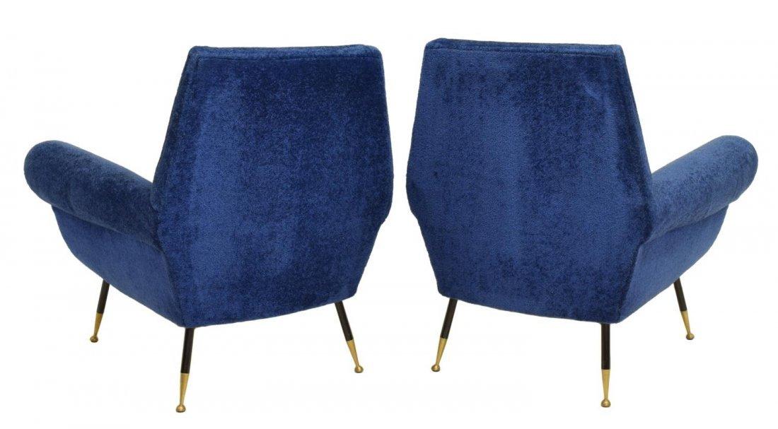 (2) ITALIAN MID-CENTURY MODERN BLUE ARMCHAIRS 1950 - 2