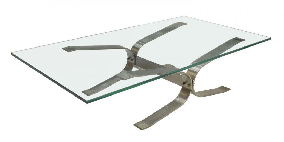 ITALIAN DESIGN GLASS & CHROME COFFEE TABLE, 1970
