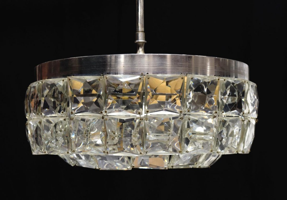 ITALIAN CRYSTAL AND METAL 7-LIGHT CHANDELIER